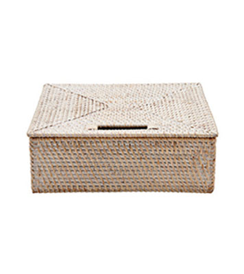 White Wash Palm Hair Dryer Basket With Handle